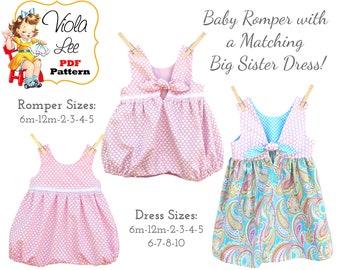 Easy! Girls Bubble Romper & MATCHING Girls Dress Patterns PDF Sewing Patterns. Instant Digital Download PDF Sewing Pattern. Sallie