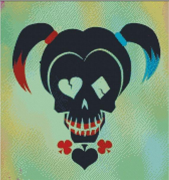 Suicide Squad Harley Quinn Skull Cross Stitch Pattern Etsy