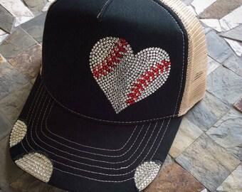 Baseball bling hat   custom bling hat   baseball mom   rhinestones    trucker hat 36cadfca0dfb