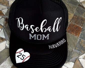 841ff2454a553 Baseball mom  glitter  hat   custom bling hat   baseball mom   rhinestones    trucker hat