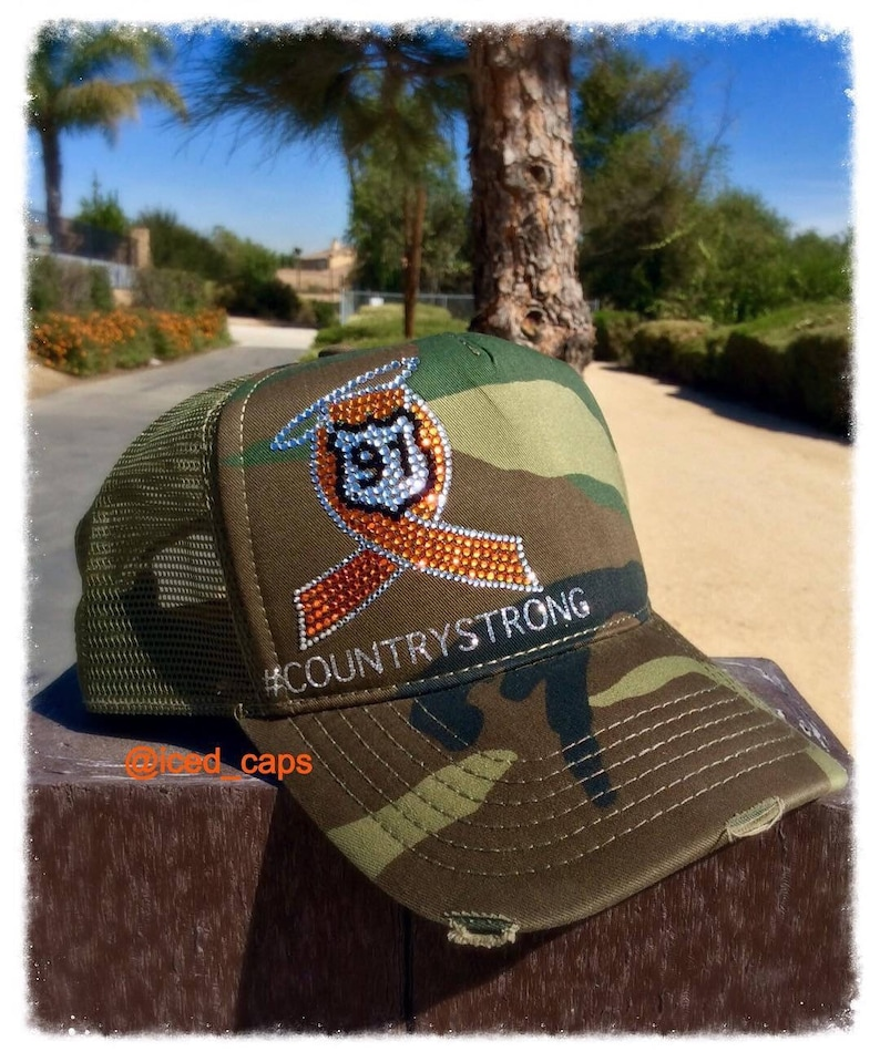71a1553906d Route 91   survivor  country strong  america  custom bling hat