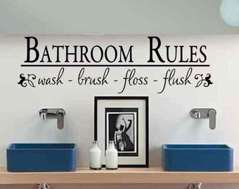 Bathroom Wall Decals Etsy