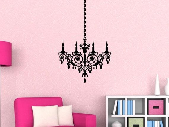 Chandelier Wall Decal Decor, Pink Chandelier Wall Art