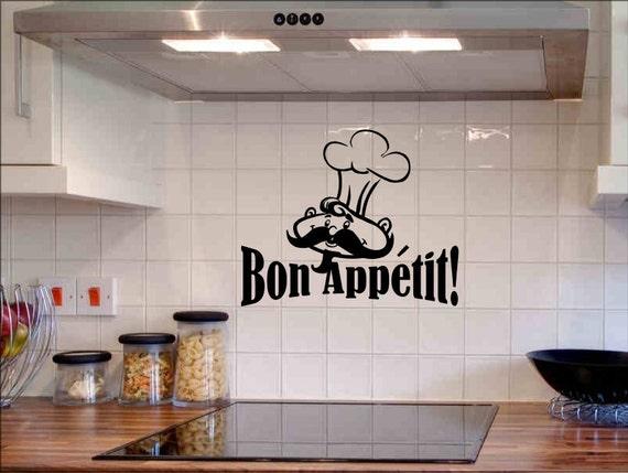 Bon Appetit Wall Decal Kitchen Wall Decor Quote Dining Room Decorations Sticker Removable Vinyl Lettering Chef Backsplash Back Splash