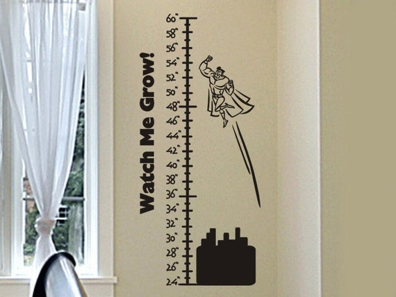 growth chart wall decal with flying super hero boy or girls | etsy