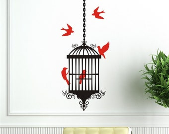 Wall Decal Sticker - Bird Cage with 5 Birds and 1 length of hanging chain