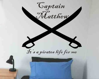 Pirate Wall Decal Personalized Crossed Pirate Swords Boys Bedroom Wall  Decor Pirate Theme Baby Boy Nursery