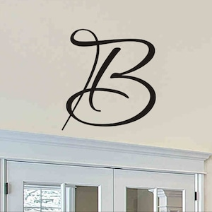 Initial Wall Decal Single Letter Monogram Decal Cornhole Board Decals Wall Sticker Removable Vinyl Letters Wall Decor 12 inch 12cho