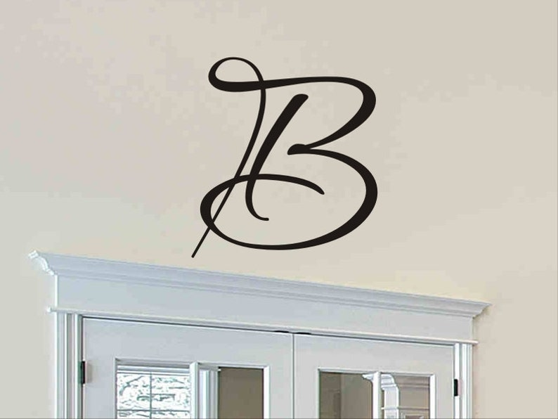 single letter monogram decal wall sticker initial wall decal | etsy