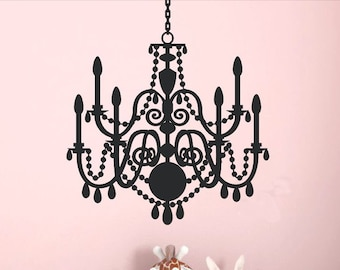 Living Room Wall Decor - Chandelier Wall Decal - Baby Girl Nursery - Girls Bedroom - Master Bedroom - Kitchen Decor - Bathroom Decoration