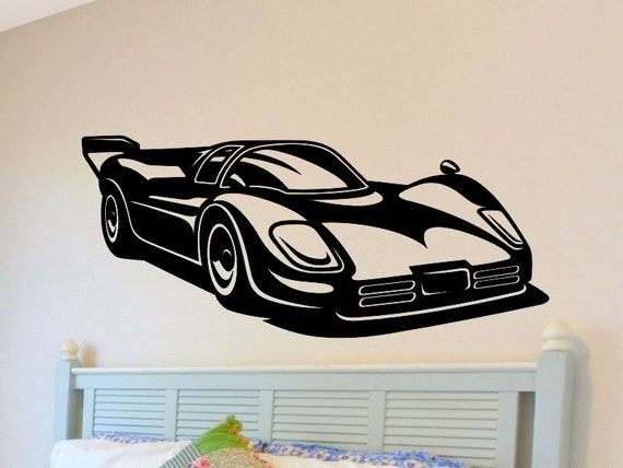 Race Car Wall Decal Boys Bedroom Wall Decor Man Cave Racecar Wall Sticker Removable Vinyl Nursery Decoration Mancave Kids Bed Room Playroom