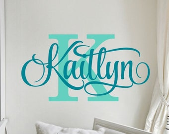 Personalized Name Wall Decal Girl Monogram Initial Swirly Name Decal Wall Decor Vinyl Lettering Gold Coral 42 Available Matte Colors