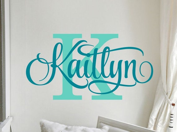 Name Wall Decals Teen Girl Room Decor Baby Girl Nursery Name Decal  Personalized Baby Name Decal for Wall Vinyl Lettering Initial Monogram