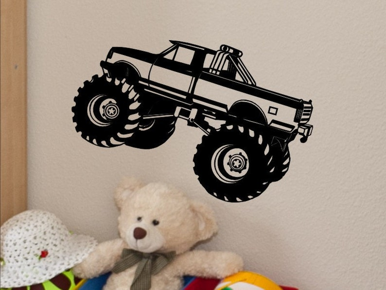 Tremendous Monster Truck Wall Decal Monster Truck Wall Decor Kids Bedroom Decor Baby Boy Nursery Boys Room Monster Truck Theme Vinyl Sticker Home Interior And Landscaping Ologienasavecom