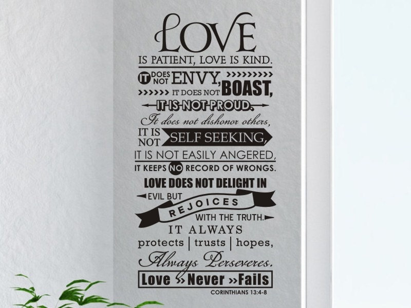 Religious Home Decor Wall Decal Quote Love Is Patient Love Is Etsy