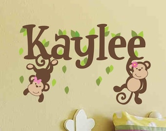 Monkey Name Decal Girl Name Decal Girl Name Wall Decal Baby Girl Nursery Monkey Wall Decal Monkey Decal Nursery Wall Decal Nursery Wall Deco