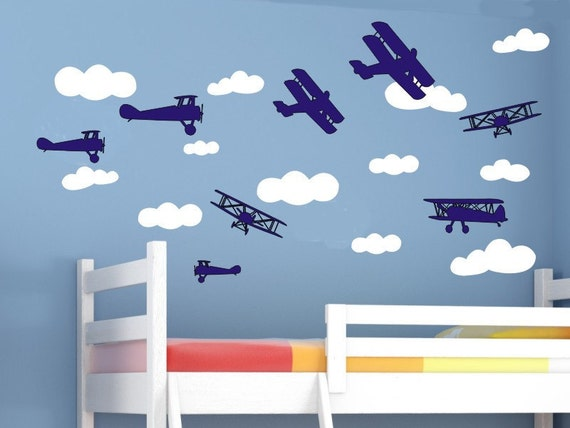 Airplane Wall Decals Cloud Wall Decals Baby Boy Nursery Airplane Nursery  Airplane Decor Wall Decals Wall Decor Air Plane Wall Decals