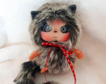 Raccoon Baby Cute Heartwarmer Doll  Christmas Decoration Stocking Filler by Larysa Champagne