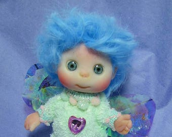 Purple Lavender  Fairy , Cute Baby Doll, Decoration for home Christmas, Lucky Charm, made to order.