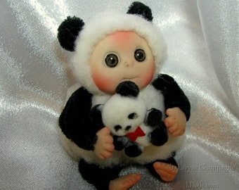 Lucky Panda  Bear Baby,  Lucky Charm  , Cute Baby Doll, Decoration for home, Collectables made to order