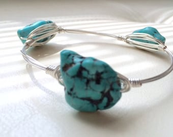 Turquoise Nugget Wire-Wrapped Bangle---MEDIUM