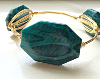 Teal, Snakeskin, Wire-Wrapped Bangle---MEDIUM