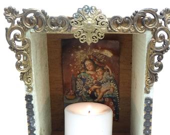 Vintage Mexican Nicho Altar Shrine with Brass Trim,Madonna and Child Santo Cuzco Retablo Painting
