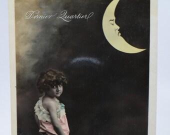 Antique Early 1900's Last Quarter Moon Photograph Postcard, Portugal Dernier Quartier