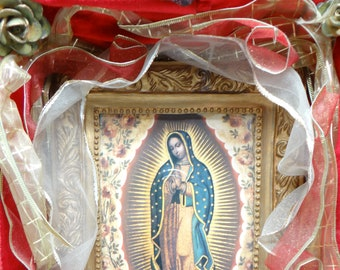 Vintage Mexican Nicho with Madonna Lithograph, Religious Our Lady Altar Shrine, Ex Voto, Glad Bless this Home
