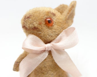Vintage German Bunny Rabbit Toy for Easter, Plastic Eyes, Hand Made Minature, Original Label