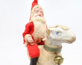 Antique Santa on Sheep with Bell, German Toy for Christmas Putz or Nativity, Hand Painted Clay Face