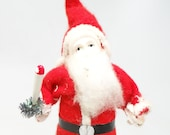 Vintage 6 1 2 Inch 1940 39 s SANTA With Hand Painted Celluloid Face, with Candle for Christmas
