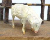Antique German Composition Sheep with Wooden Stick Legs, Hand Painted Face, for Putz or Christmas Nativity Creche, Vintage Lamb