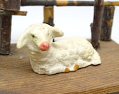 Antique German Sheep, Composition, Hand Painted Face, for Putz or Christmas Nativity Creche, Vintage Lamb
