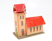 Vintage German Church House for Christmas Putz or Nativity Creche, Antique Cardboard Toy, East Germany