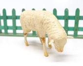 Antique German Composition Sheep with Wooden Stick Legs, Hand Painted Face, for Putz or Christmas Nativity Creche, Vintage Lamb Germany
