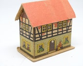 Antique German House for Christmas Putz or Nativity, Vintage Cardboard Toy, Germany