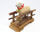 Antique 1930 39 s German Sheep with Bell on Twig Bridge, Hand Made for Putz or Christmas Nativity Creche