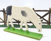 Antique German Wooden Cow on Wood Stand, Hand Painted Stand Up Toy for Christmas Putz or Nativity