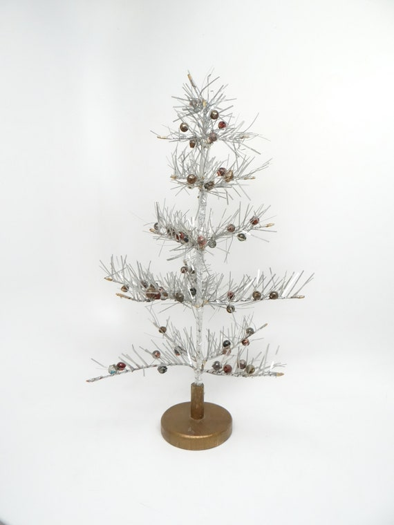 Tinsel Christmas Tree.Vintage Silver Tinsel Christmas Tree With Gold Wood Base And Mercury Glass Ornaments