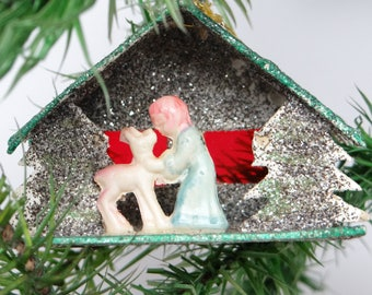 Vintage Reindeer Christmas Ornament, Antique Celluloid and Glitter House and Trees, Hand Made
