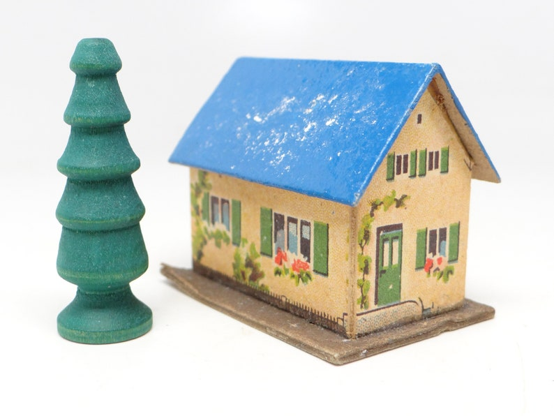 1950s German Christmas House For Putz Or Nativity With Wooden Tree East Germany