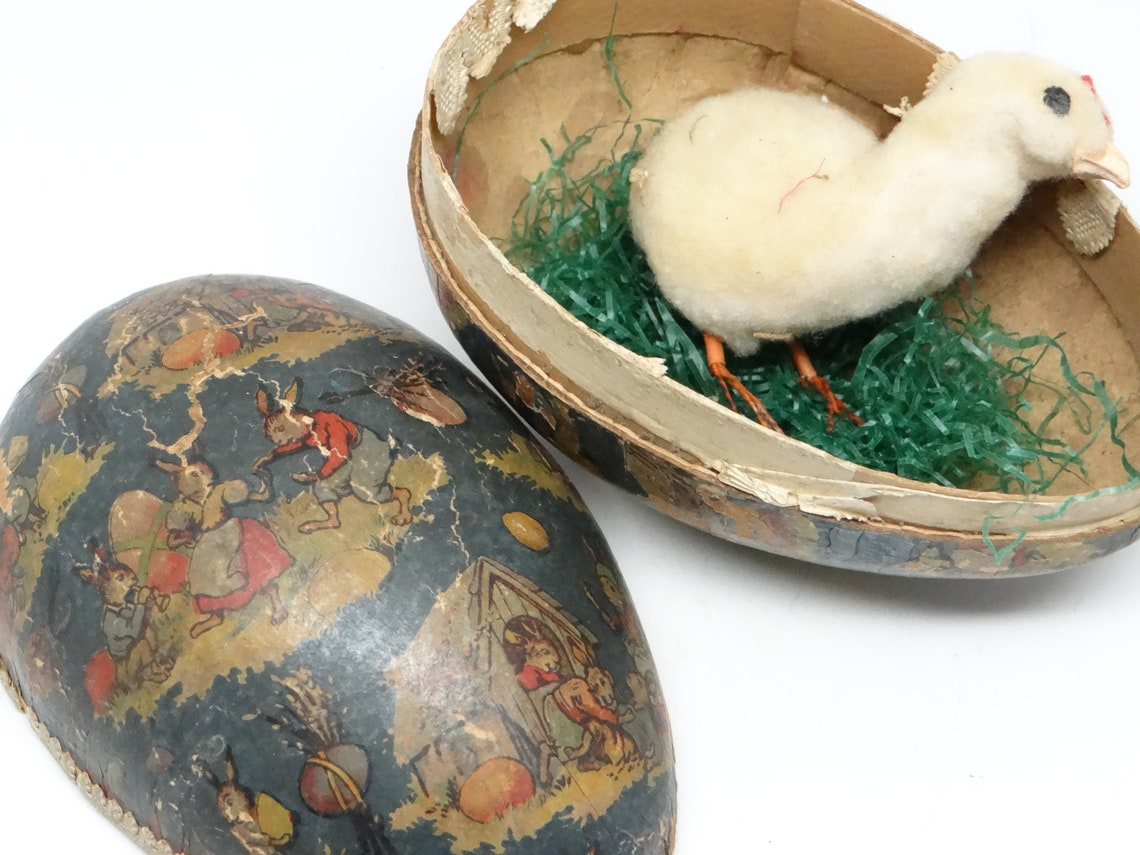 1930's German Easter Egg with Cotton Chick, Vintage Candy Container, Paper Lace, Bunny Rabbits