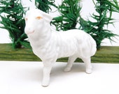 Antique German Lamb or Sheep, Hand Painted Glazed Porcelain, Vintage Toy Animal for Christmas Nativity Putz Creche
