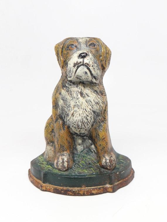 - Antique Cast Iron Dog Door Stop Vintage Hand Painted Pet