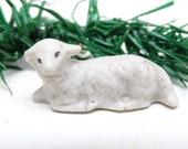 Antique Miniature German Lamb or Sheep, Hand Painted Porcelain, Vintage Christmas Nativity Putz or Creche, Farm Toy