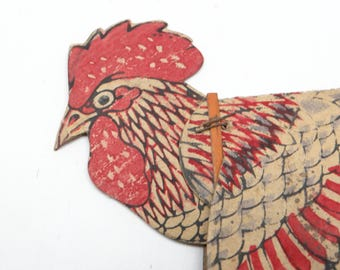 Antique Rooster or Chicken Noisemaker, Vintage Toy for Halloween