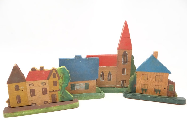Vintage German Village Church 3 Houses Hand Made Of Wood And Hand Painted For Christmas Putz Or Nativity Handgemalt