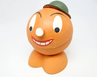 1940's German Pumpkin Candy Container for Halloween, Hand Painted Jack O Lantern