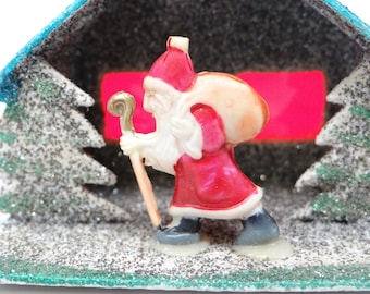 Vintage Santa Christmas Ornament, Antique Celluloid and Glitter House and Trees, Hand Made